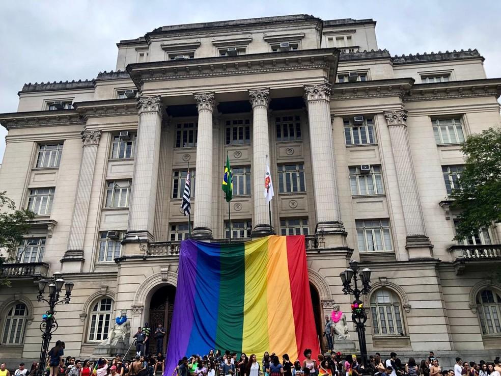 Cerca de 7 mil pessoas participam da 2ª Parada do Orgulho LGBT de Santos — Foto: Carol Ianelli/G1