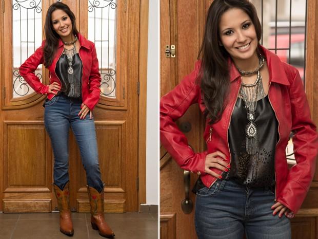Jaqueta e calça jeans são boas peças para curtir noite de rodeio nos camarotes e nas arquibancadas (Foto: Mateus Rigola/G1)
