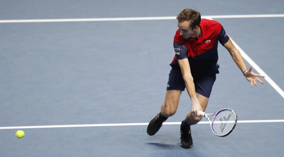 Daniil Medvedev não teve sequer um break point no jogo — Foto: AP Photo/Alastair Grant
