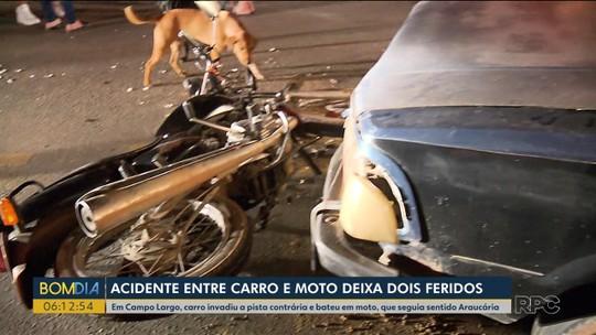 Duas pessoas ficam feridas em acidente em Campo Largo; PM diz que  motorista de carro estava alcoolizado