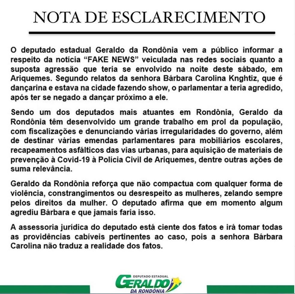 Nota do deputado Geraldo da Rondônia — Foto: Reprodução/Redes Sociais