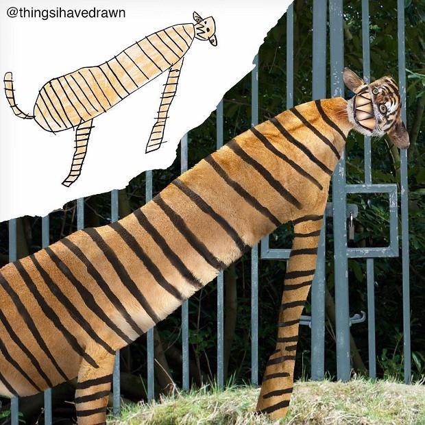 O tigre era bem mais fofo só no papel, não é mesmo?  (Foto: Reprodução/Instagram)
