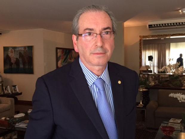 O presidente da Câmara, Eduardo Cunha, na residência oficial, após entrevista ao G1 e à TV Globo (Foto: Nathalia Passarinho / G1)