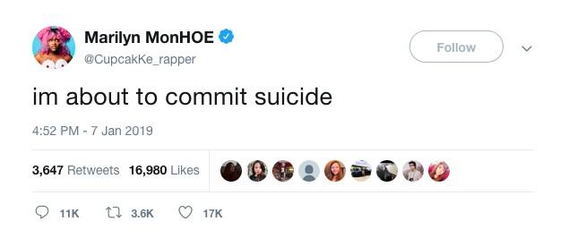 O tuíte no qual a rapper Cupcakke anunciou sua tentativa de suicídio (Foto: Instagram)