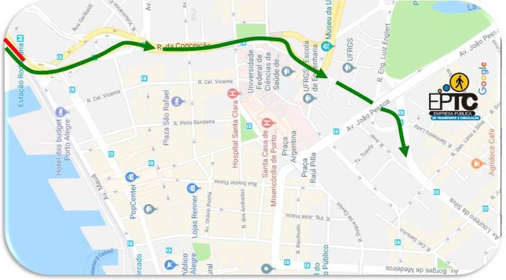 Em verde, desvio que será feito no trânsito na chegada a Porto Alegre a partir das 5h de quarta-feira (24) (Foto: Divulgação/PMPA)