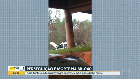 Bebê morre depois de carro da família cair de viaduto em Duque de Caxias
