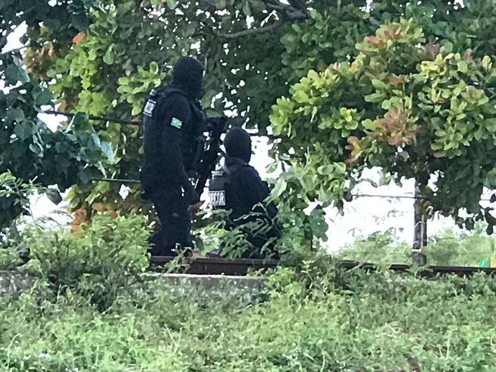 Polícia Civil e Força Nacional fazem operação na Comunidade do Mosquito (Foto: Kleber Teixiera/Inter TV Cabugi )