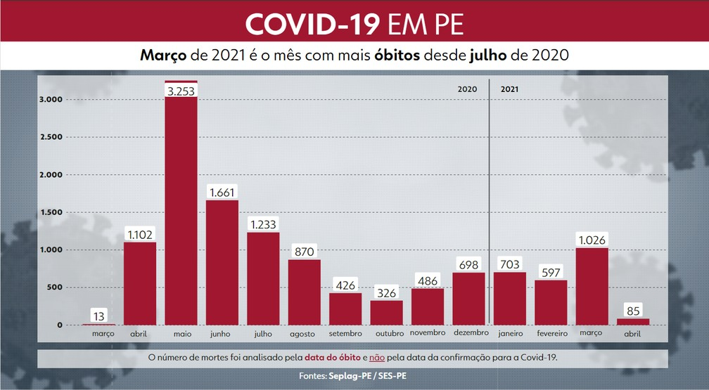 Gráfico mostra quantidade mensal de óbitos por Covid-19 em Pernambuco — Foto: Reprodução/TV Globo