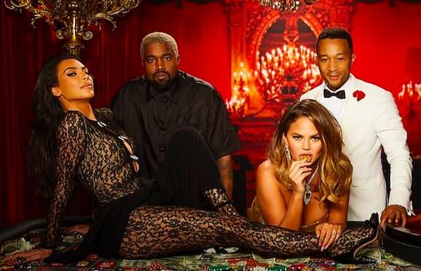 Kim Kardashian e Kanye West ao lado de John Legend e Chrissy Teigen no aniversário de 40 anos de Legend (Foto: Instagram)