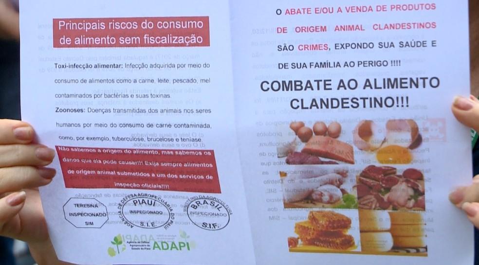 Adapi explica que alimentos de origem animal precisam ser inspecionados.  — Foto: Reprodução/TV Clube