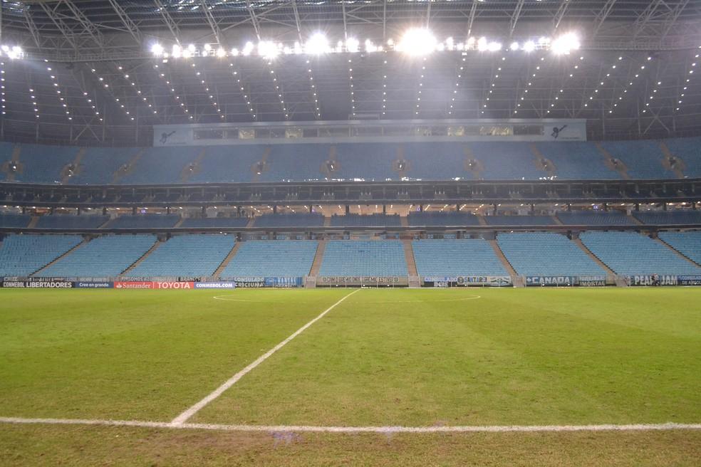 Gramado da Arena do Grêmio (Foto: Eduardo Moura)