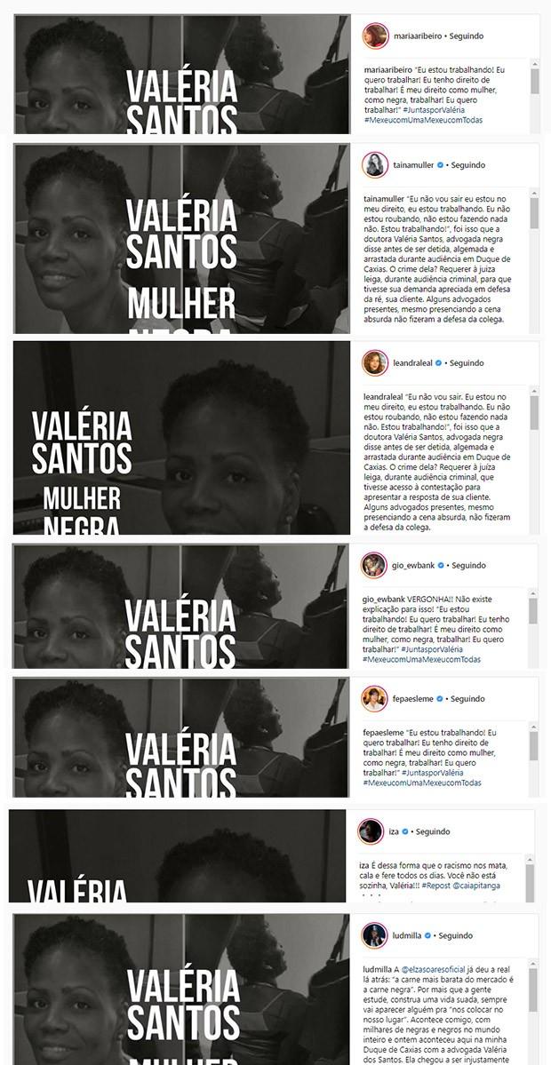 Mulheres famosas mostram sua indignação com a prisão de Valéria dos Santos (Foto: Reprodução/Instagram)