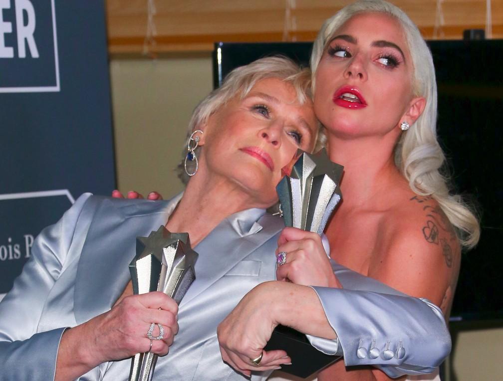 Lady Gaga e Glenn Close dividem prêmio de Melhor Atriz no Critic's Choice Awards  — Foto: Jean-Baptiste LACROIX / AFP