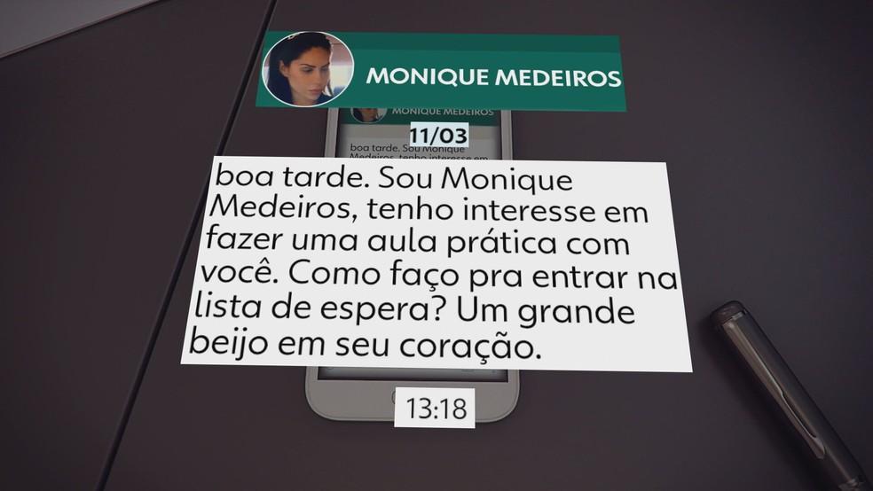Monique Medeiros procura por curso de culinária no dia seguinte à morte do filho  — Foto: Reprodução/TV Globo
