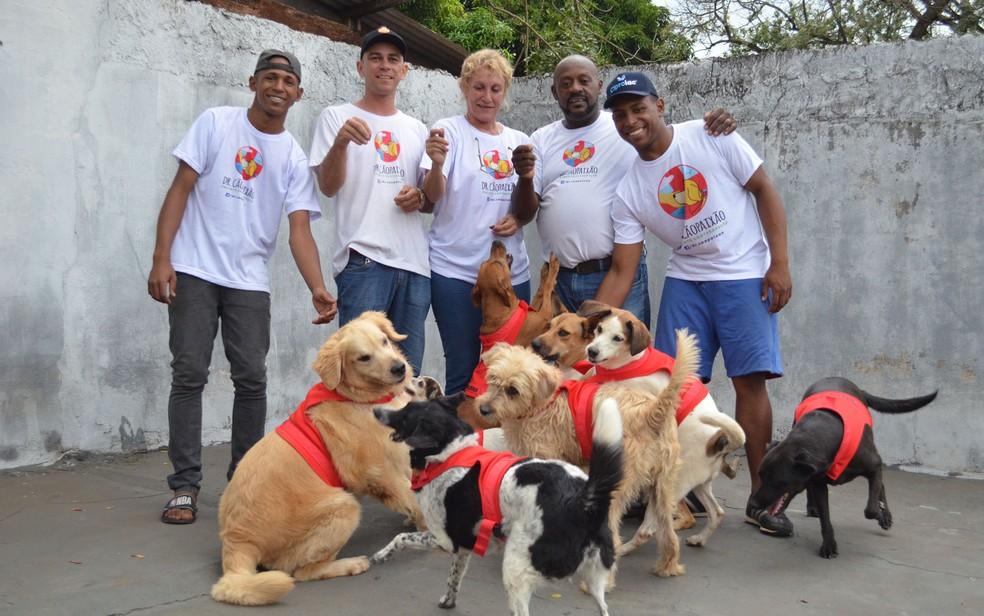 Voluntários do projeto independente Dr. Cãopaixão brincam com os cães terapêuticos em Ribeirão Preto, SP — Foto: Werlon Cesar/G1