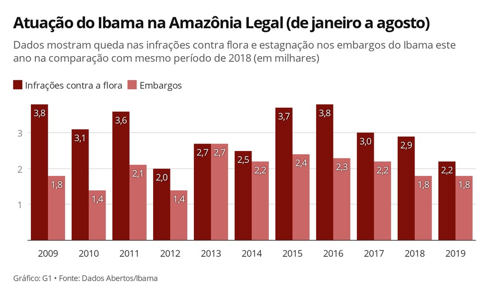 Atuação do Ibama em embargos e infrações contra flora na Amazônia Legal — Foto:  G1