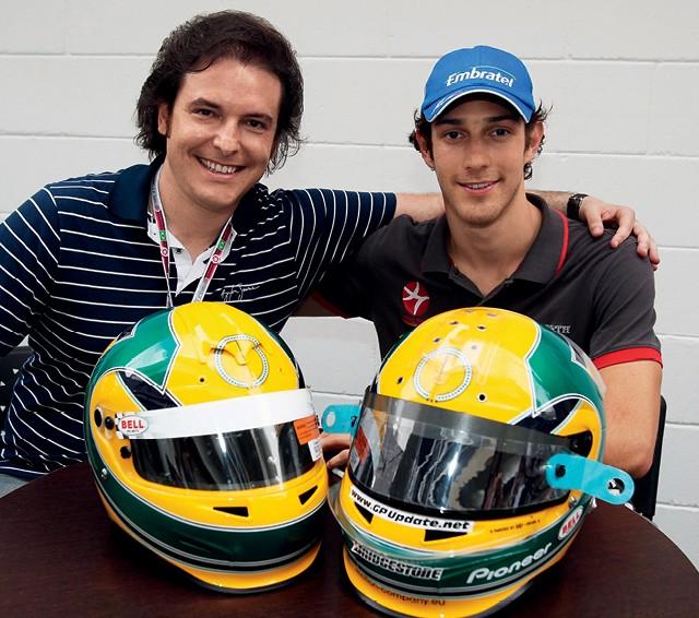 O pontapé inicial de Raí Caldato na F1 foi com Bruno Senna, em 2010, ano de estreia do brasileiro na categoria pela escuderia espanhola Hispania Racing. A parceria com Hamilton veio sete anos depois (Foto: Arquivo pessoal)