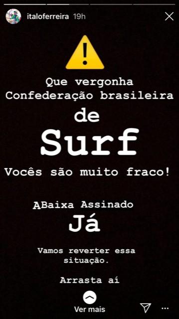 Italo Ferreira critica a CBSurf