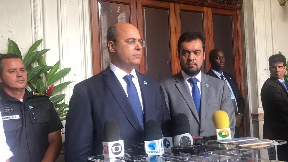 Governador do RJ durante entrevista nesta sexta-feira (25) — Foto: Matheus Rodrigues/G1