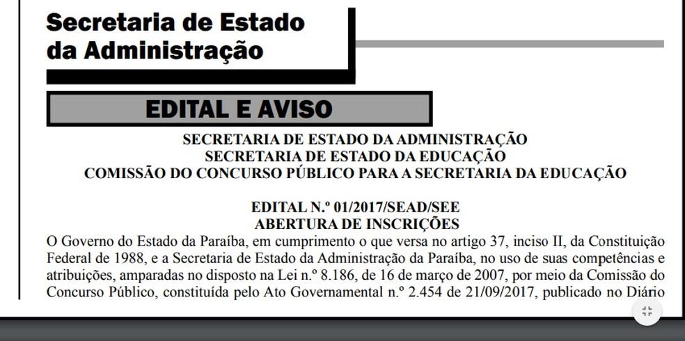 Resultado de imagem para Publicado edital de concurso para professor do Estado da Paraíba