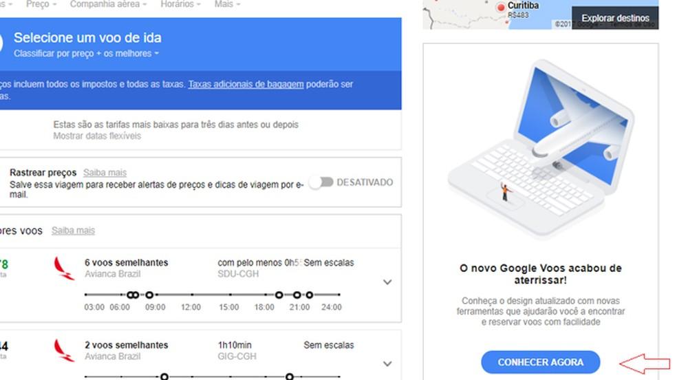 """Clique em """"conhecer agora"""" para usar o novo design do Google Flights (Foto: Reprodução/Clara Barreto)"""
