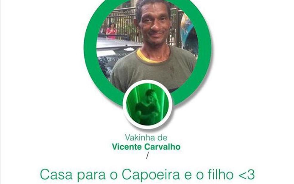 Vaquinha online para arrecadar dinheiro para comprar uma casa para Capoeira — Foto: Reprodução/Instagram