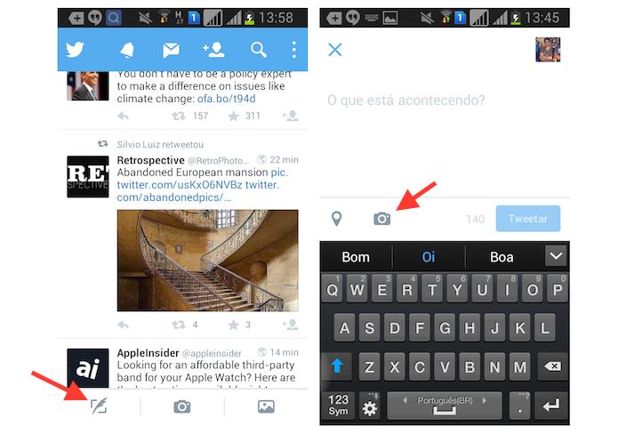 Acessando a biblioteca de fotos do Android através do aplicativo do Twitter (Foto: Reprodução/Marvin Costa)