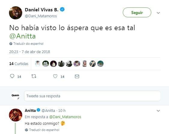 Anitta dá resposta ácida a jornalista colombiano (Foto: Reprodução / Twitter)