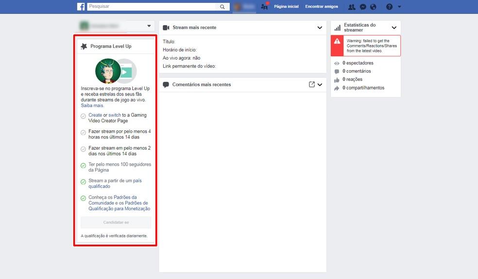 Ao acessar o fb.gg/streamer, o usuário que atender aos critérios será redirecionado para uma página deste tipo — Foto: Reprodução/Bruna Telles