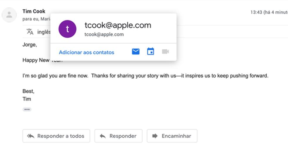 E-mail enviado do CEO da Apple desejando melhoras a Jorge Freire — Foto: Reprodução
