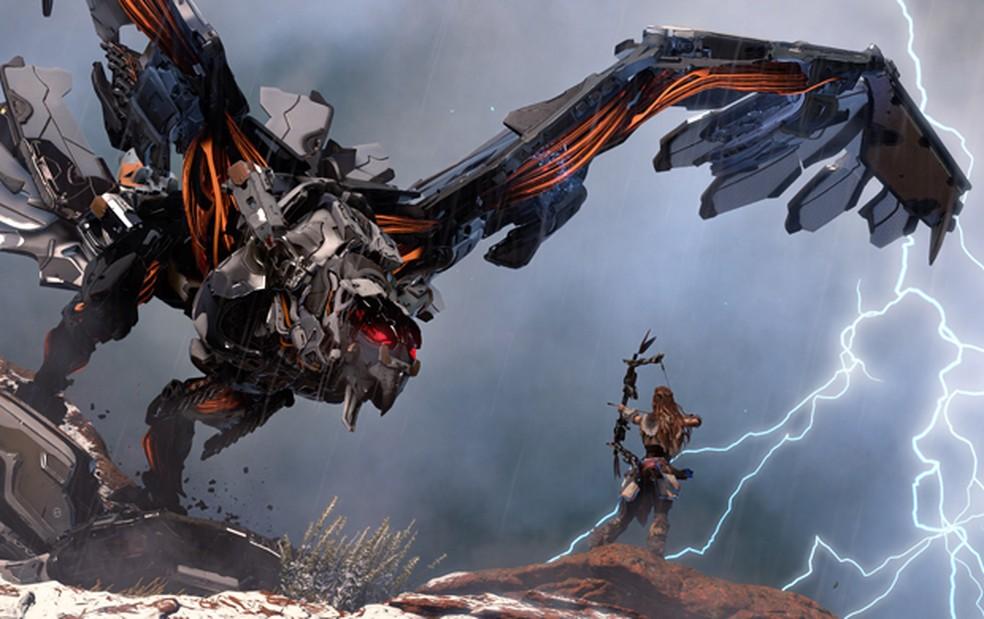 Exclusivo do PS4, 'Horizon Zero Dawn' é game de mundo aberto em mundo com dinossauros robôs (Foto: Divulgação/Sony)