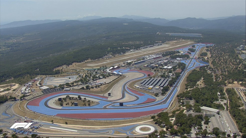 Vista aérea do Circuito de Paul Ricard, na França — Foto: Reprodução F1