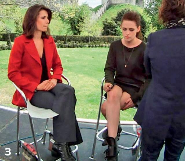 Ao entrevistar a atriz Kristen Stewart (Foto: Reprodução)