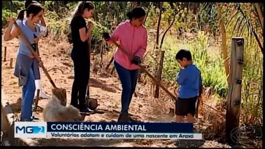 Moradores fazem mutirão para limpar nascente em Araxá