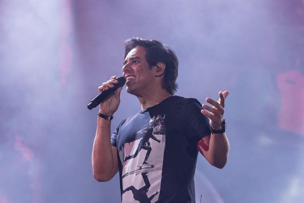Guilherme durante apresentação da dupla em Barretos 2018 (Foto: Ricardo Nasi/G1)