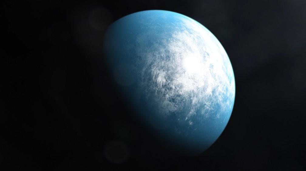 Ilustração feita por um artista a partir de dados captados pelo satélite TESS da Nasa mostram o planeta TOI 700 d, o primeiro com tamanho da terra em uma zona habitável do universo. — Foto: Nasa/AFP