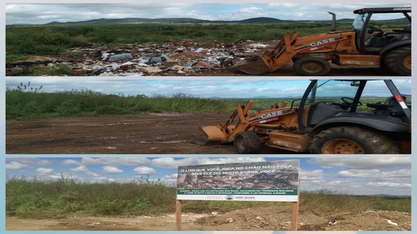 Prefeitura de Serra Talhada realiza limpeza e instalação de placas contra descarte irregular