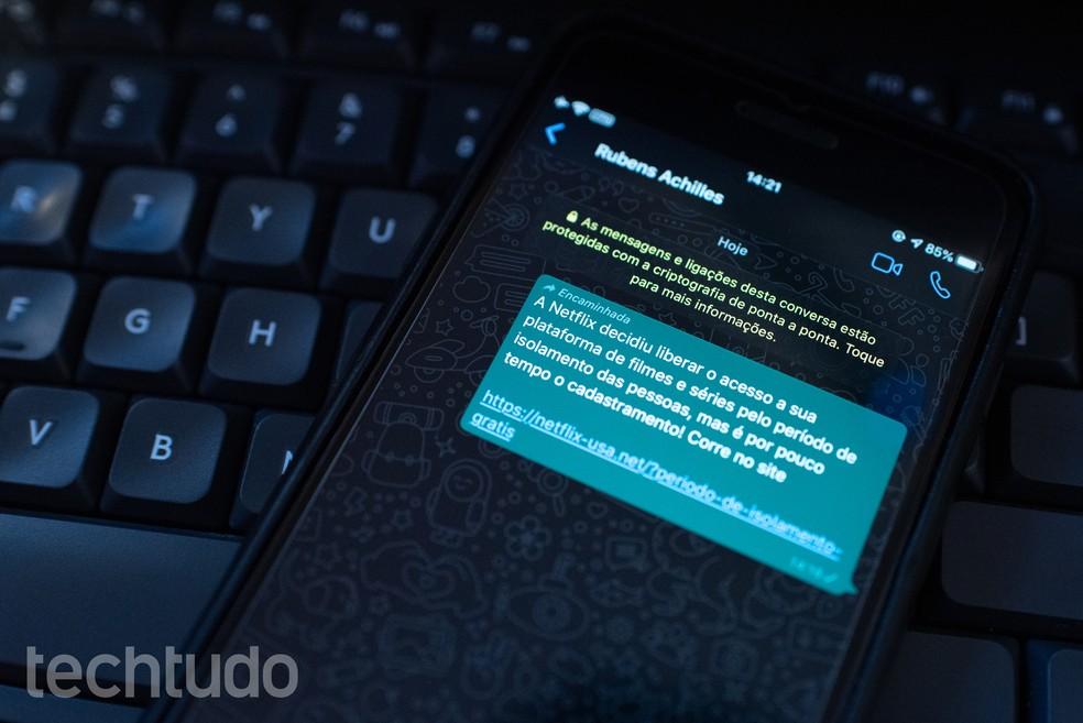 Golpe no WhatsApp promete Netflix grátis durante isolamento provocado por coronavírus — Foto: Rubens Achilles/TechTudo