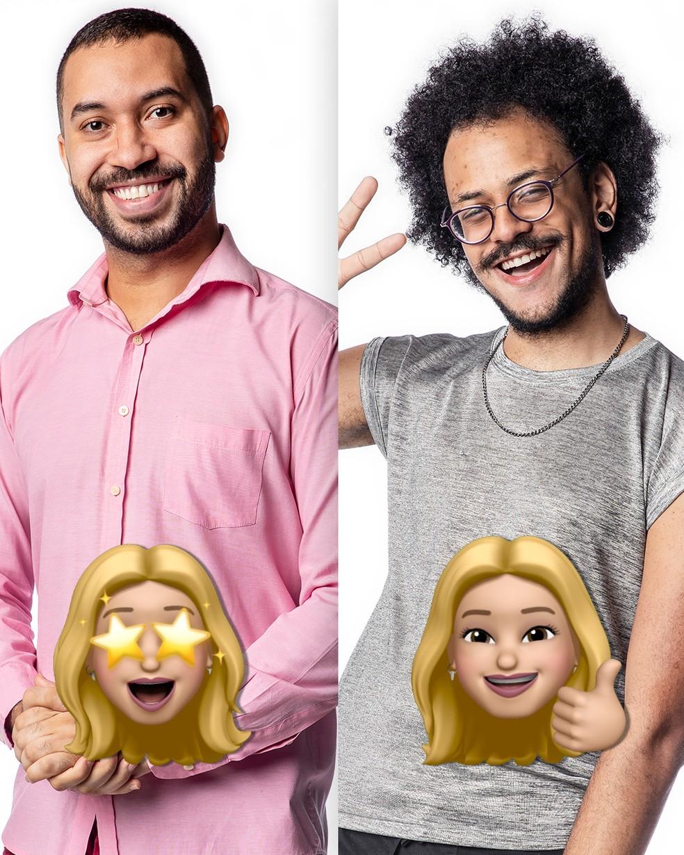 Gilberto e João Luiz recebem emojis de Kerline — Foto: Globo