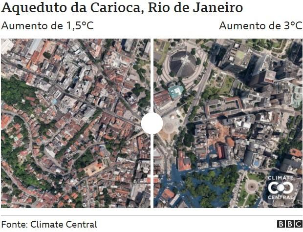 Aqueduto da Carioca (Foto: CLIMATE CENTRAL via BBC)