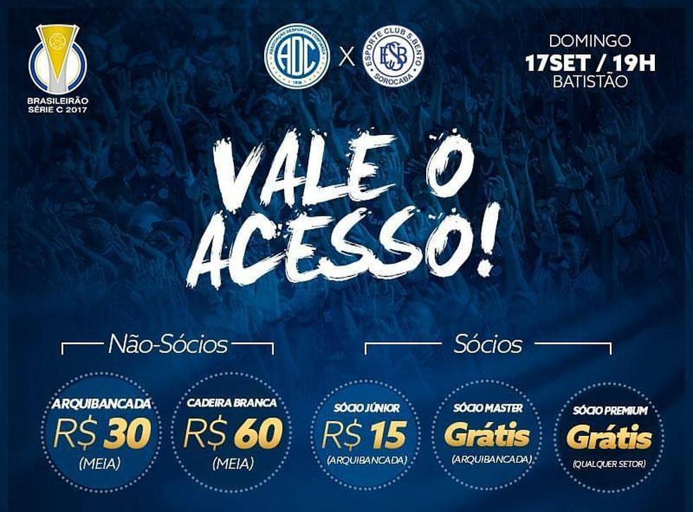 Ingressos para Confiança x São Bento (Foto: Divulgação/ADC)