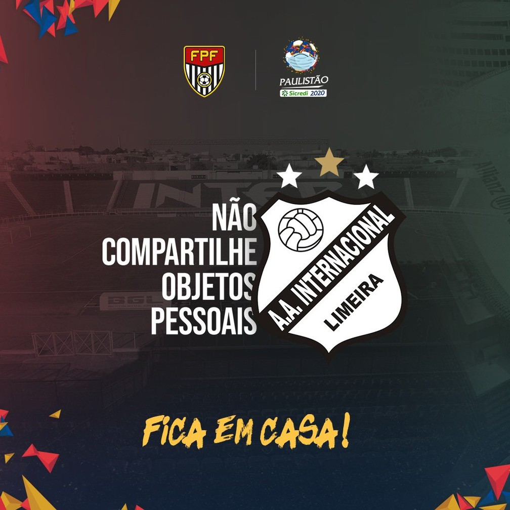 Inter de Limeira adapta escudo em campanha contra o novo coronavírus — Foto: Reprodução Twitter