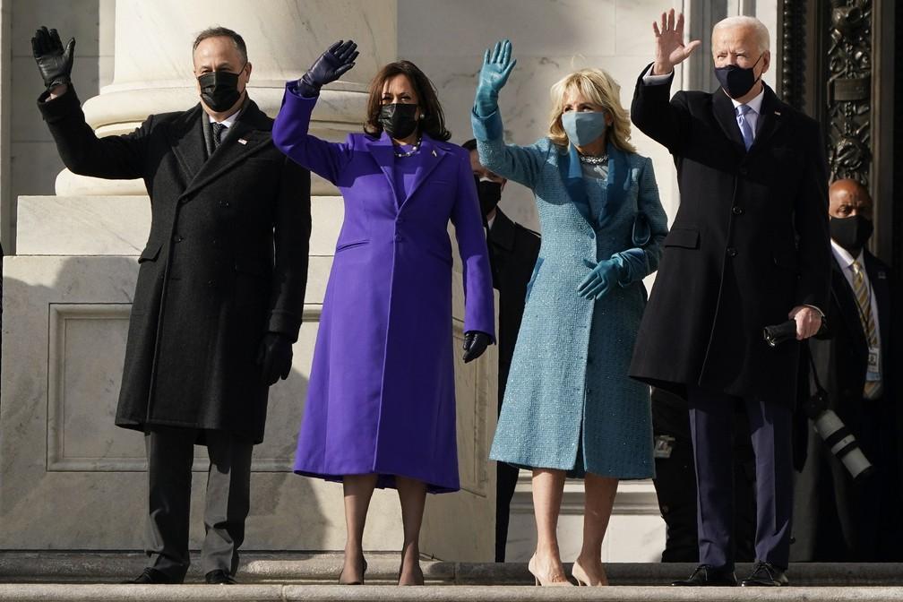 Joe Biden e Kamala Harris chegam ao Capitólio para cerimônia de posse  — Foto: J. Scott Applewhite/AP