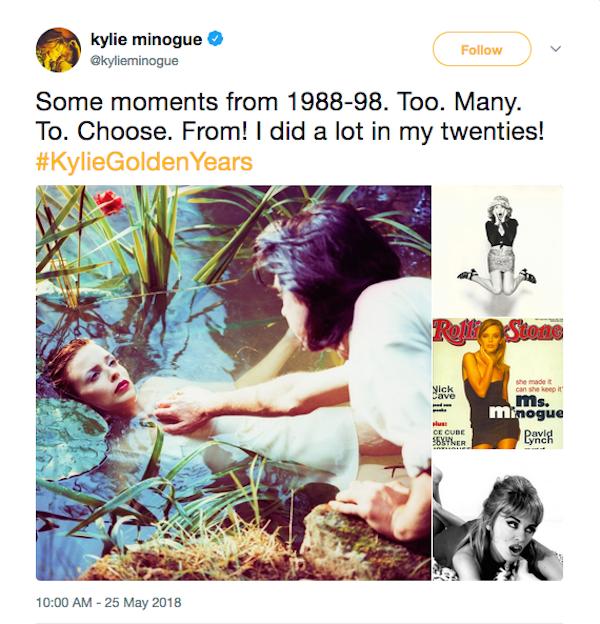 Fotos compartilhadas por Kylie Minogue durante diferentes momentos de sua carreira (Foto: Twitter)