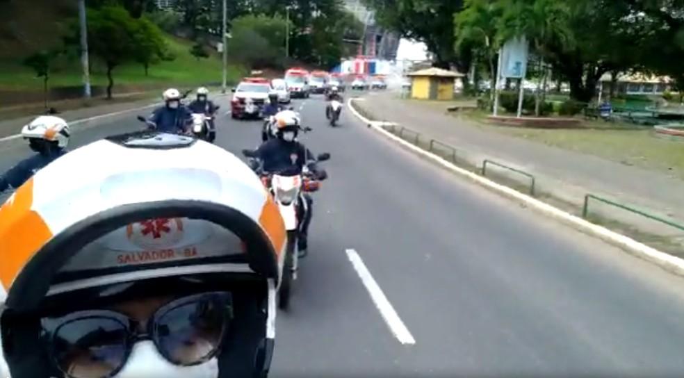 Colegas de trabalho se despediram de Lucival Junior com carreata — Foto: Divulgação / Samu