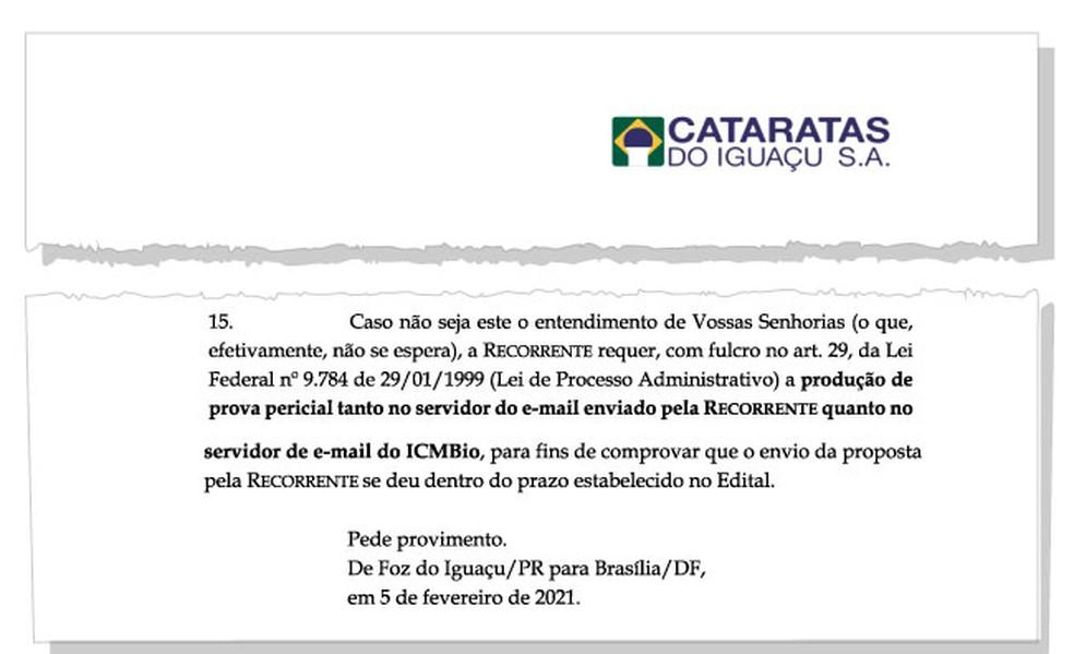 Se recurso não fosse aceito, Cataratas pediu que fosse produzida prova pericial em servidores — Foto: Reprodução/Arquivo