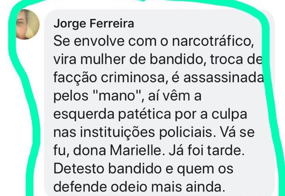 Comentários contra vereadora Marielle Franco viralizaram e delegado foi afastado; policial nega ter feito a postagem (Foto: Reprodução/WhatsApp)