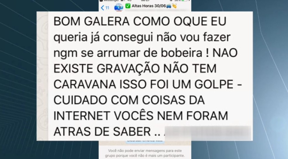 Moradores de São Carlos são vítimas de golpe ao comprar excursão para programa Altas Horas (Foto: Wilson Aiello/ EPTV)
