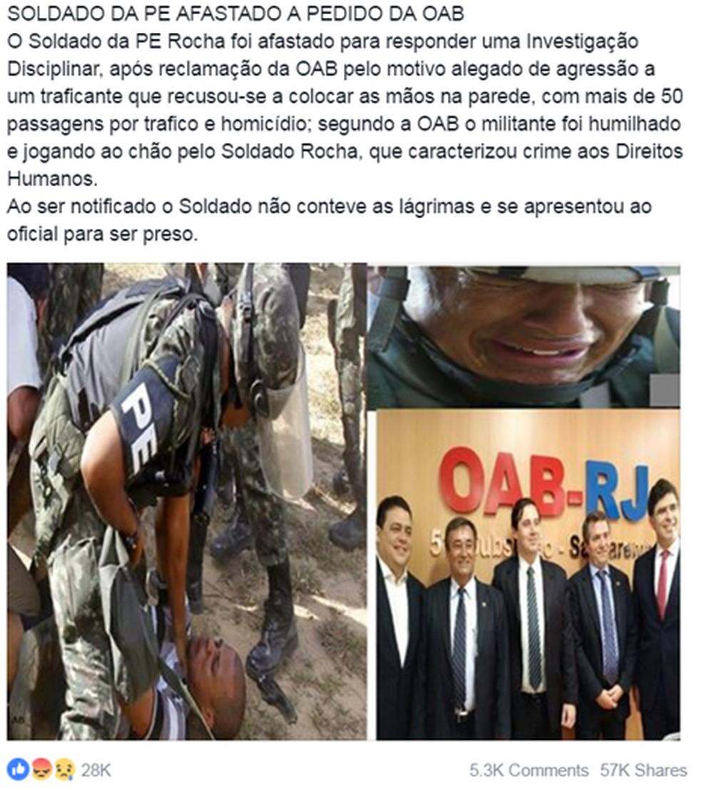 Post no Facebook fala de soldado afastado a pedido da OAB (Foto: Reprodução/ Facebook)