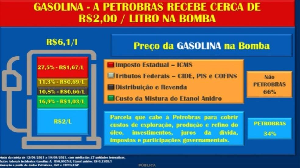 Composição de preços da gasolina, segundo a Petrobras — Foto: Reprodução